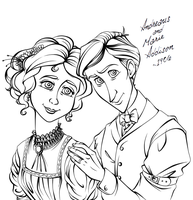 Andre and Marie 1906 LineArt (WIP) by Chrissyissypoo19