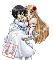 Commission: Kirito and Asuna Wedding by kojika