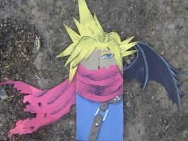 Paper Bag puppet of Cloud by Throughawolfseyes