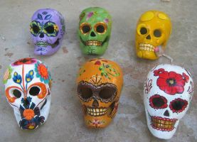 Day of the Dead Skull Group 1 by NibbleKat