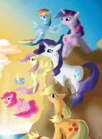 Mlp the Mane 6 cast Mountain Morning by goina