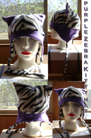 purple and zebra print hat. by wolffang56