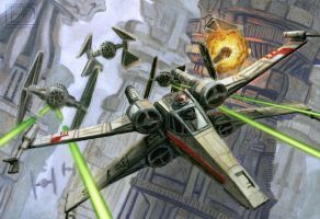 X-wing Close Call by LucasDurham