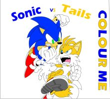 Sonic Vs Tails by tacofacedrawer
