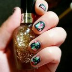 Floral Black and White Polka Dot Nail by rltan888