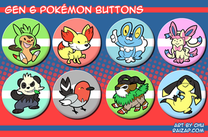 Gen 6 Pokemon Buttons by raizy