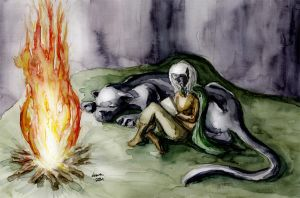 Drizzt writing diary by Zardra