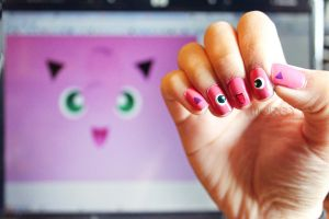 Jigglypuff nails by xelusiivesoul
