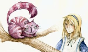 Chershire Cat and Alice by pottedsean