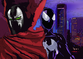 Spidey and Spawn by SentientSix