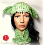 Loom Knit Yoda Hat and Cowl by LoomaHat