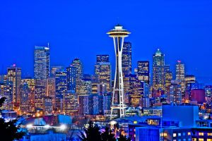Seattle At Dusk HDR 1 by AaronPlotkinPhoto