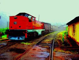 retouch hdr retro train by michaelgoldthriteart