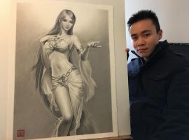 Goddess Sillia Pencil Drawing by yipzhang5201314