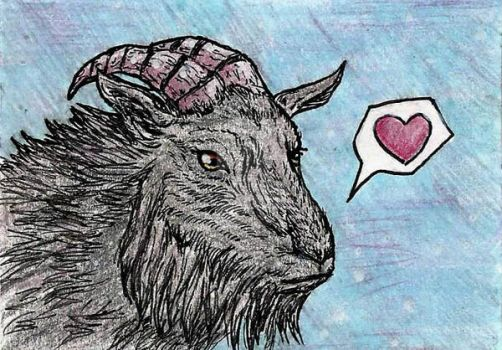 ACEO: Love Goat by AwesomelyAimless