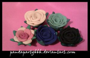 Pretty Clay Flowers by pandaparty666
