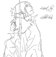 Chrome and Mukuro Lineart by Lolker-chan
