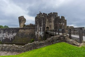 Caerphilly Castle - East Gatehouses by LordMajestros