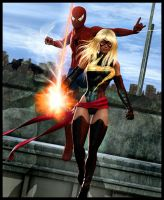 Spiderman and Ms Marvel by Tachikoma-X