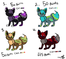eevee adoptables batch 2 :Closed: by eevee4everX3