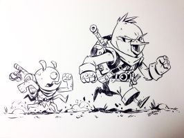 Inktober 2015 Day 03 - Chirp and Bug by DerekLaufman