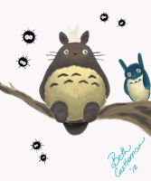 Totoro and Soot Gremlins. by pascalscribbles