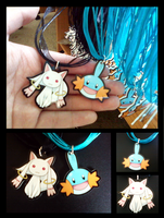 Mudkip and Kyubey Necklaces by deliciosaBerry