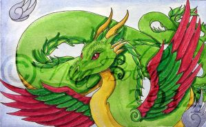 Amphithere Dragon 2 Watercolor by The-GoblinQueen