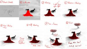 Happy new year (little red riding hood) making of by Matou31
