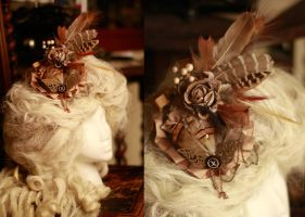 Golden Steampunk Fascinator by IdaLarsenArt