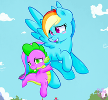 Spike and rainbow !! by shadowhulk