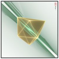 Octahedron Gold Green on Light by YarNor
