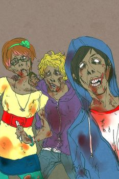 hipster zombie apocalypse by 021