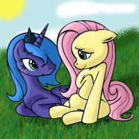 Princess Luna and Fluttershy by Mast88