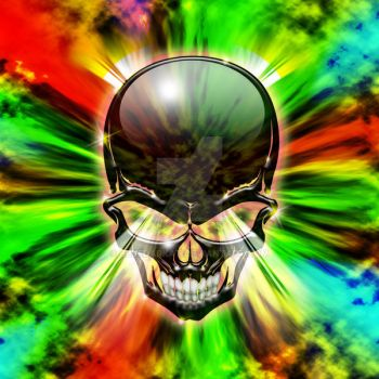 Crystal Skull on Psychedelic Flames by Bluedarkat