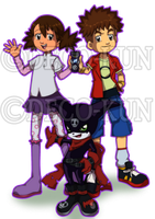 Ai and Mako with Impmon Digimon Hunters style by Deco-kun