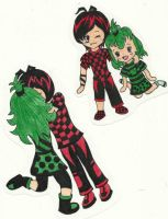 Cherry and Apple Chibis by FizzyBubbles