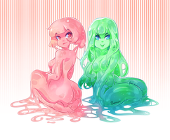 Bubblegum and Toxic slime by Berru-chan