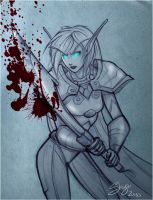 +Sketch+ Blood Elf DK by 77Shaya77