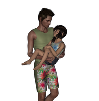 Surf Guy with his Lil Girl by Taryndedoo