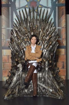 Captain Levi on the iron throne by komododragon01