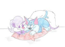 Fifi and Furrball - Cuddling by Jose-Ramiro
