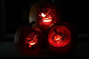 Lackadaisy Cats tribute in Pumpkins by warrior-smurf2001