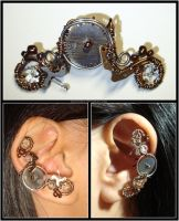 Steampunk Big Gear ear cuff by Meowchee