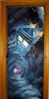 Tardis through the door (painted door) ^^ by WormholePaintings