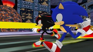 Sonic vs. Shadow by Nictrain123