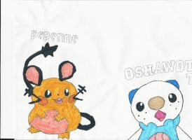 Oshawott and Dedenne by emogal96