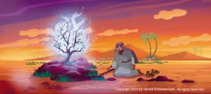Moses and the burning bush by henryz