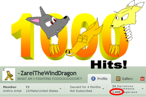 1000 Hits by ZarelTheWindDragon