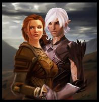 Kylenn Hawke and Fenris by NatachaChoquet